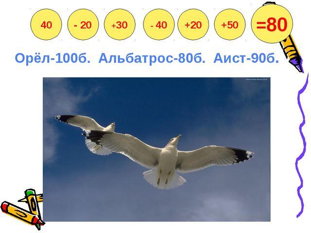 Орёл-100б. Альбатрос-80б. Аист-90б. 40 - 20 +30 - 40 +20 +50 =80