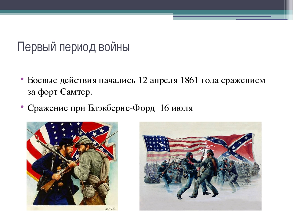 Первый период войны Боевые действия начались 12 апреля 1861 годасражением за...