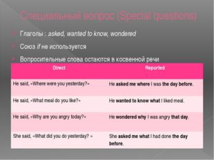Специальный вопрос (Special questions) Глаголы : asked, wanted to know, wonde