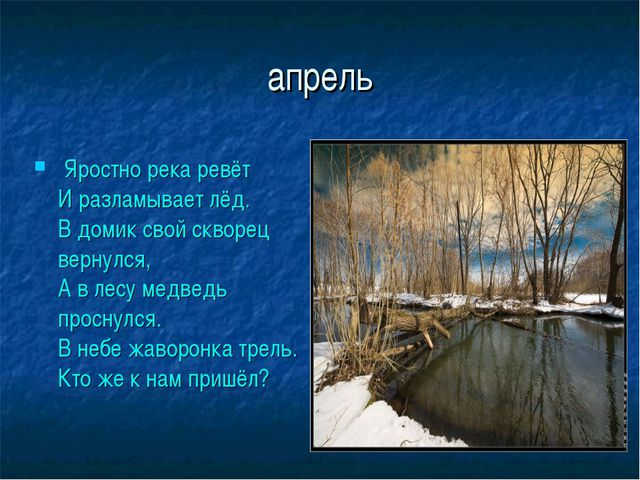 апрель Яростно река ревёт И разламывает лёд. В домик свой скворец вернулся,...