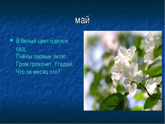 май В белый цвет оделся сад, Пчёлы первые летят. Гром грохочет. Угадай, Что з...