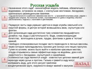 Русская усадьба Сад располагался в наиболее живописном месте – у красивой изл
