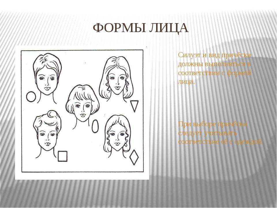 ФОРМЫ ЛИЦА Силуэт и вид причёски должны выполняться в соответствии с формой л...