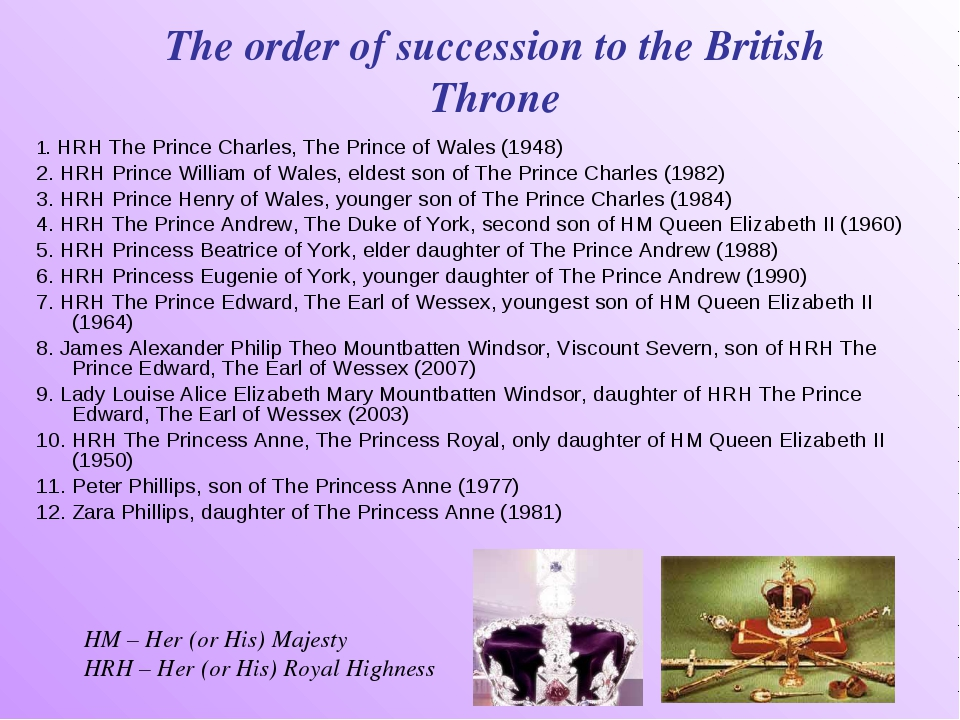 The order of succession to the British Throne 1. HRH The Prince Charles, The...