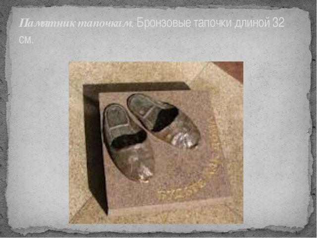 Памятник тапочкам. Бронзовые тапочки длиной 32 см.