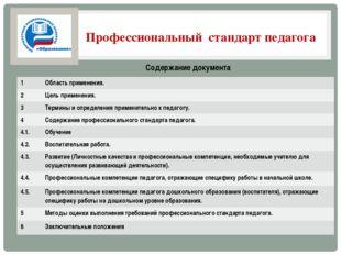 Профессиональный стандарт педагога Содержание документа 1 Область применения.