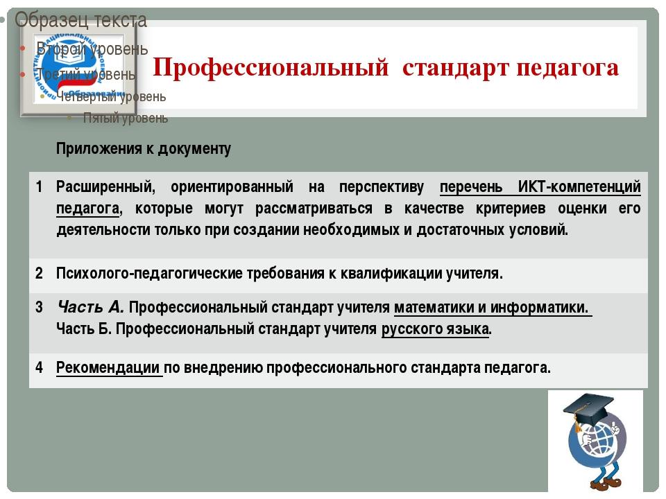 Профессиональный стандарт педагога Приложения к документу 1 Расширенный, орие...