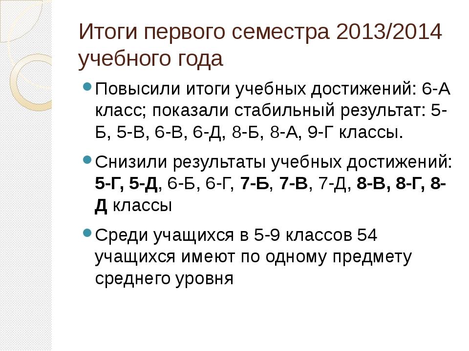 Итоги первого семестра 2013/2014 учебного года Повысили итоги учебных достиже...