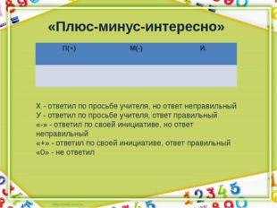 «Плюс-минус-интересно» Х - ответил по просьбе учителя, но ответ неправильный