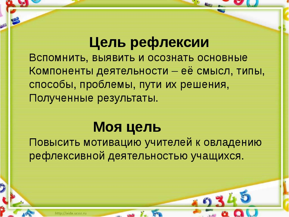 Цель рефлексии Вспомнить, выявить и осознать основные Компоненты деятельност...