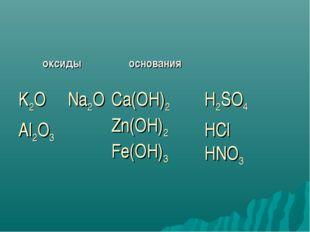 оксидыоснования K2O Na2O Al2O3Ca(OH)2 Zn(OH)2 Fe(OH)3 H2SO4 HCl HNO3