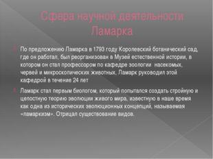 Сфера научной деятельности Ламарка По предложению Ламарка в1793годуКоролев