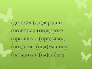 (до)ехал (до)деревни (по)бежал (по)дороге (про)читал (про)завод (под)полз (п