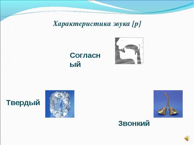Характеристика звука [р] Согласный Твердый Звонкий