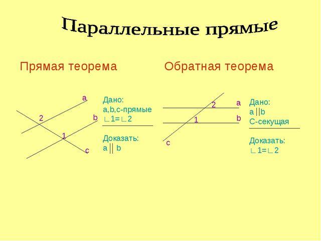 2 1 a b c Дано: a,b,c-прямые ∟1=∟2 Доказать: a b 2 1 b a c Дано: a b C-секуща...