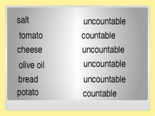 salt tomato cheese olive oil bread potato uncountable countable uncountable