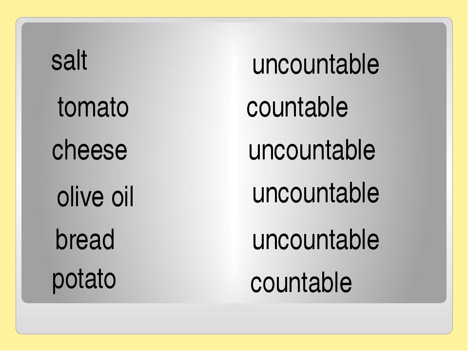 salt tomato cheese olive oil bread potato uncountable countable uncountable...