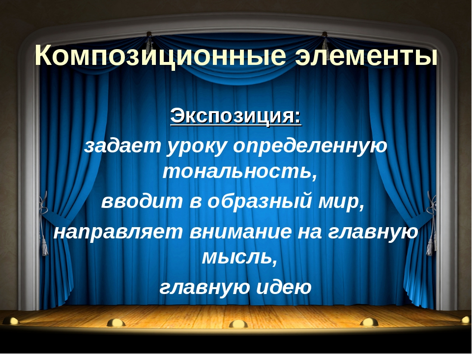 Композиционные элементы Экспозиция: задает уроку определенную тональность, вв...