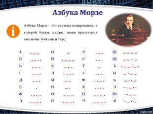Азбука Морзе– это система кодирования, в которой буквы, цифры, знаки препина