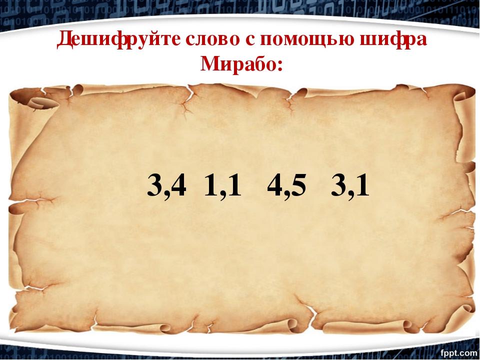 3,4 1,1 4,5 3,1 Дешифруйте слово с помощью шифра Мирабо: