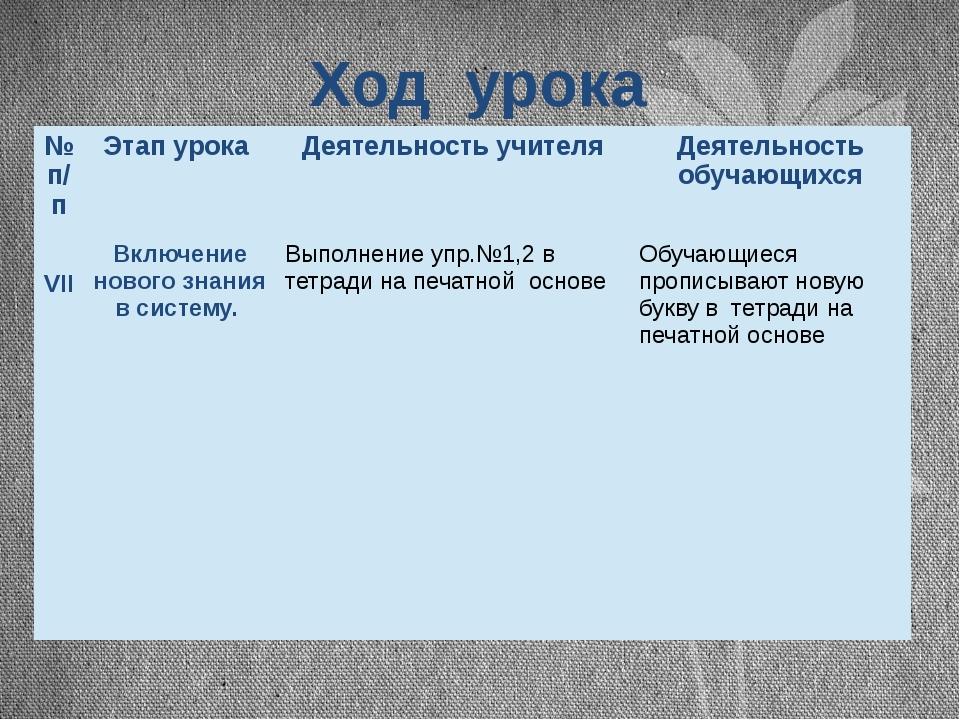 Ход урока №п/п Этап урока Деятельность учителя Деятельность обучающихся VII В...