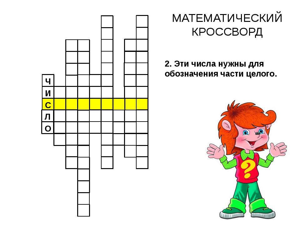 С Ч И МАТЕМАТИЧЕСКИЙ КРОССВОРД Л О 2. Эти числа нужны для обозначения части...