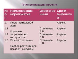 План реализации проекта №п/п Наименование мероприятия Ответственный Сроки вы