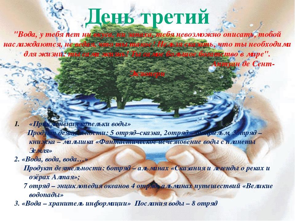 """День третий """"Вода, у тебя нет ни вкуса, ни запаха, тебя невозможно описать, т..."""