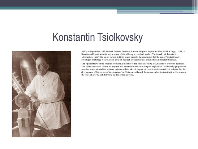 Konstantin Tsiolkovsky 5 (17) in September 1857, Izhevsk, Ryazan Province, Ru...