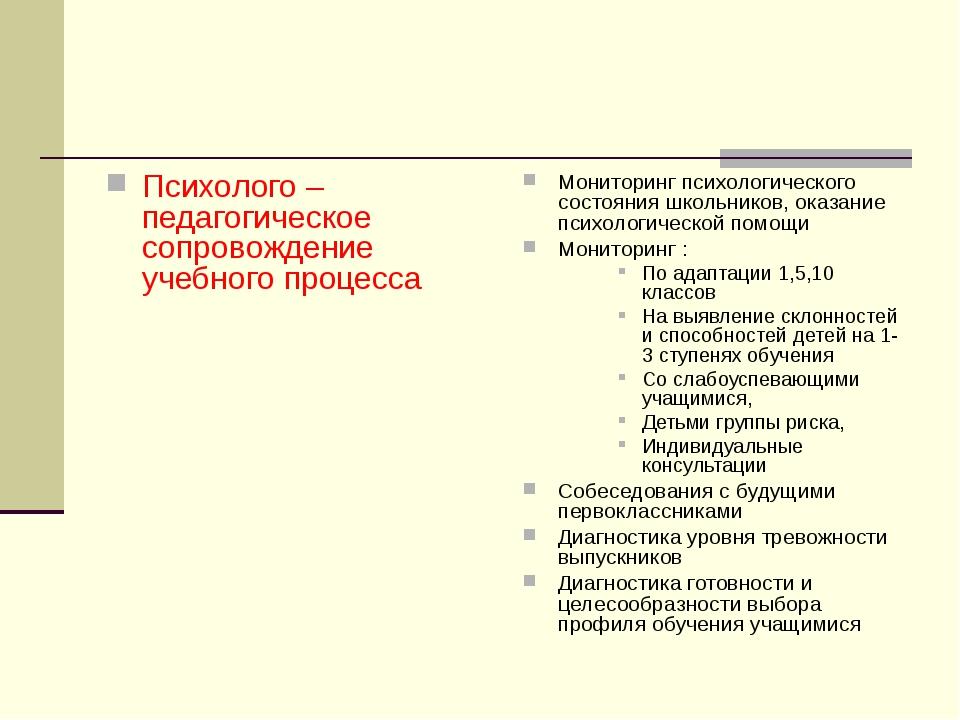 Психолого – педагогическое сопровождение учебного процесса Мониторинг психоло...