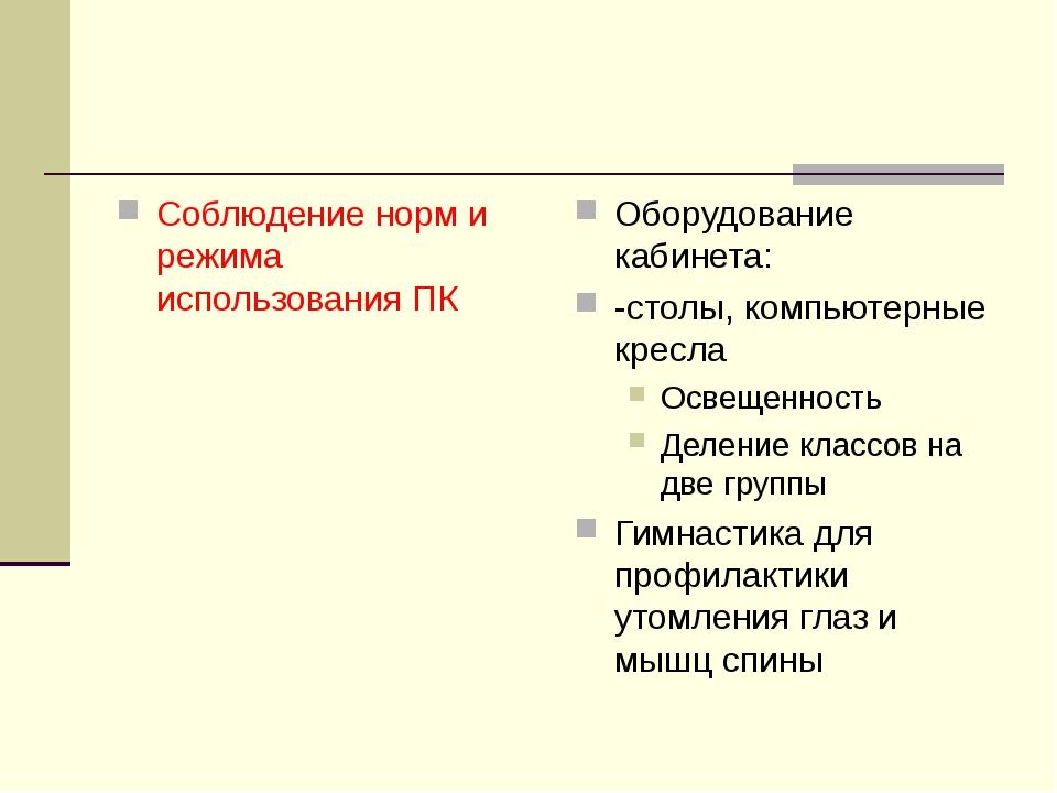 Соблюдение норм и режима использования ПК Оборудование кабинета: -столы, комп...