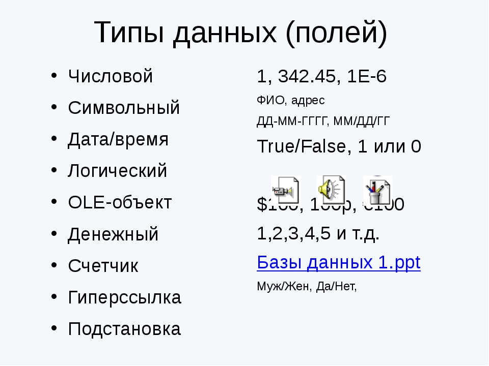 1, 342.45, 1Е-6 ФИО, адрес ДД-ММ-ГГГГ, ММ/ДД/ГГ True/False, 1 или 0 $100, 10...