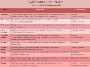 ПЛАН РЕАЛИЗАЦИИ ПРОЕКТА I этап – «Подготовительный»
