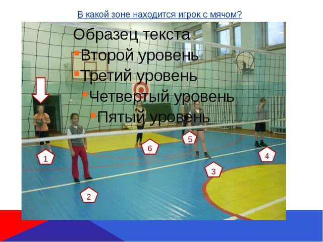 В какой зоне находится игрок с мячом? 1 6 2 3 4 5