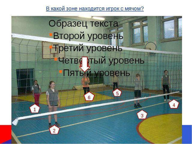 1 6 2 3 4 5 В какой зоне находится игрок с мячом?
