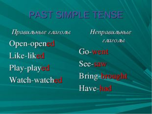 PAST SIMPLE TENSE Правильные глаголы Open-opened Like-liked Play-played Watch