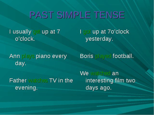 PAST SIMPLE TENSE I usually get up at 7 o'clock. Ann plays piano every day. F...