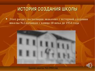 ИСТОРИЯ СОЗДАНИЯ ШКОЛЫ Этот раздел экспозиции знакомит с историей создания шк