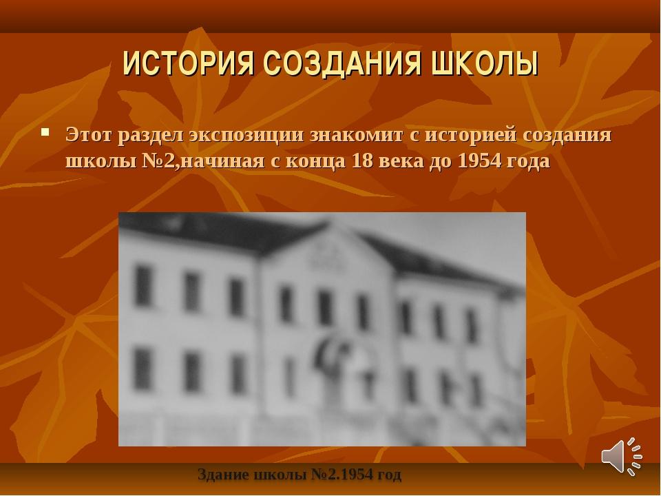 ИСТОРИЯ СОЗДАНИЯ ШКОЛЫ Этот раздел экспозиции знакомит с историей создания шк...