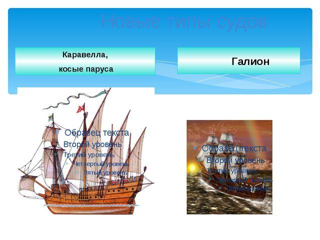 Новые типы судов Каравелла, косые паруса Галион