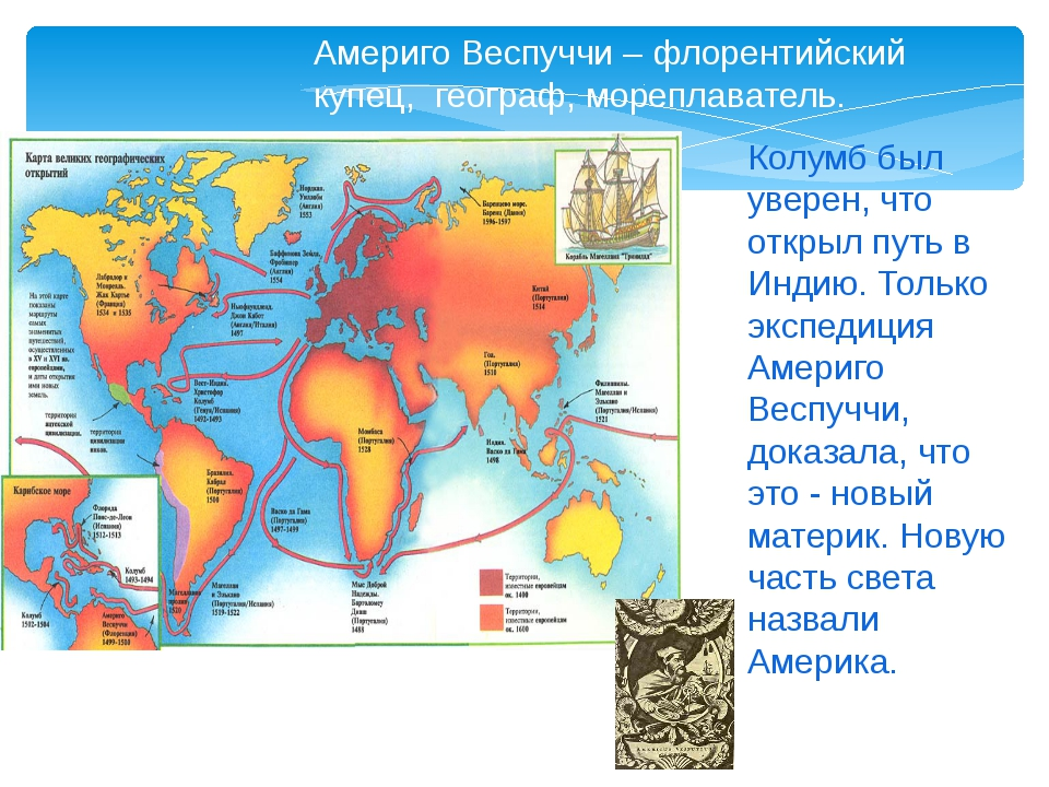 Колумб был уверен, что открыл путь в Индию. Только экспедиция Америго Веспуч...