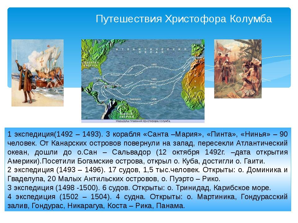 Путешествия Христофора Колумба 1 экспедиция(1492 – 1493). 3 корабля «Санта –М...
