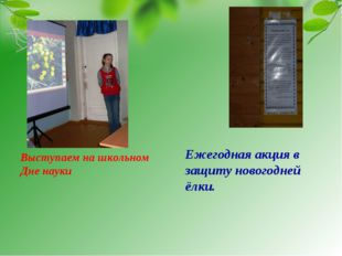 Выступаем на школьном Дне науки Ежегодная акция в защиту новогодней ёлки.