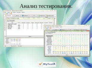 Анализ тестирования.