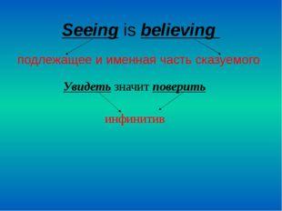 Seeing is believing подлежащее и именная часть сказуемого Увидеть значит пове