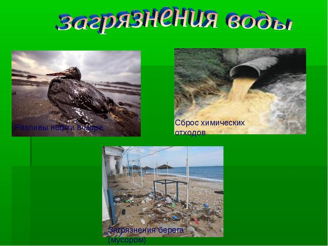 Разливы нефти в море Сброс химических отходов Загрязнения берега (мусором)