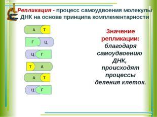 А Т Г Ц Г Т А Ц А Т Ц Г Репликация - процесс самоудвоения молекулы ДНК на осн