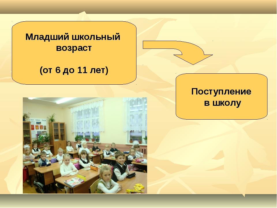 Младший школьный возраст (от 6 до 11 лет) Поступление в школу