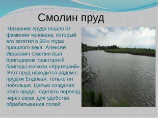 Название пруда пошло от фамилии человека, который его загатил в 90-х годах п