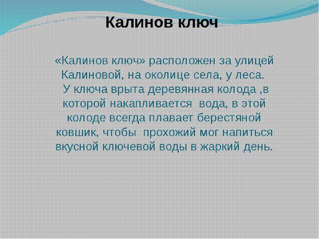 «Калинов ключ» расположен за улицей Калиновой, на околице села, у леса. У клю...
